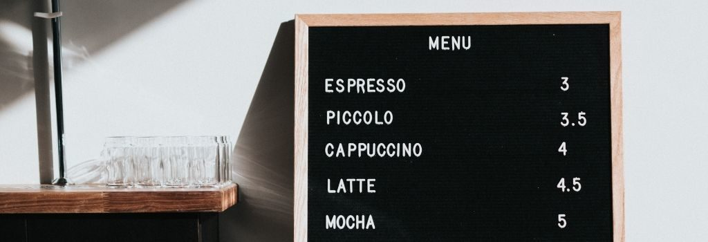 Specialty Coffee menu with prices