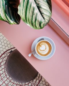 Coffee on pink bench next to plant