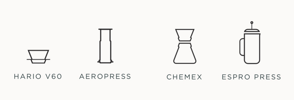 4 different coffee brewing methods