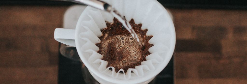 pouring water into bed of coffee grounds