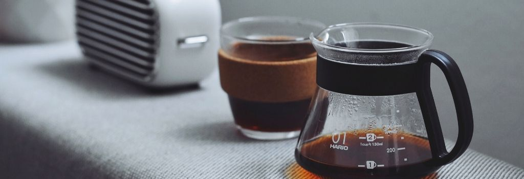 pour over coffee and keep cup with espresso coffee inside